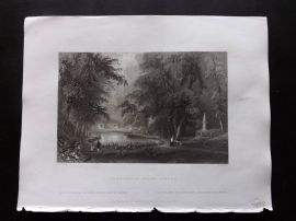 Bartlett America C1840 Print. Cemetery of Mount Auburn, Massachusetts USA